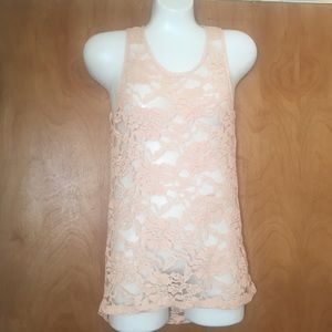 Peach lace shirt size medium